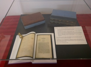 """The """"Philadelphia Emma"""" is in the top left corner. The open book is one of the facsimile editions created from the digitized pages, so that scholars can peruse the pages of this rare and fragile edition."""